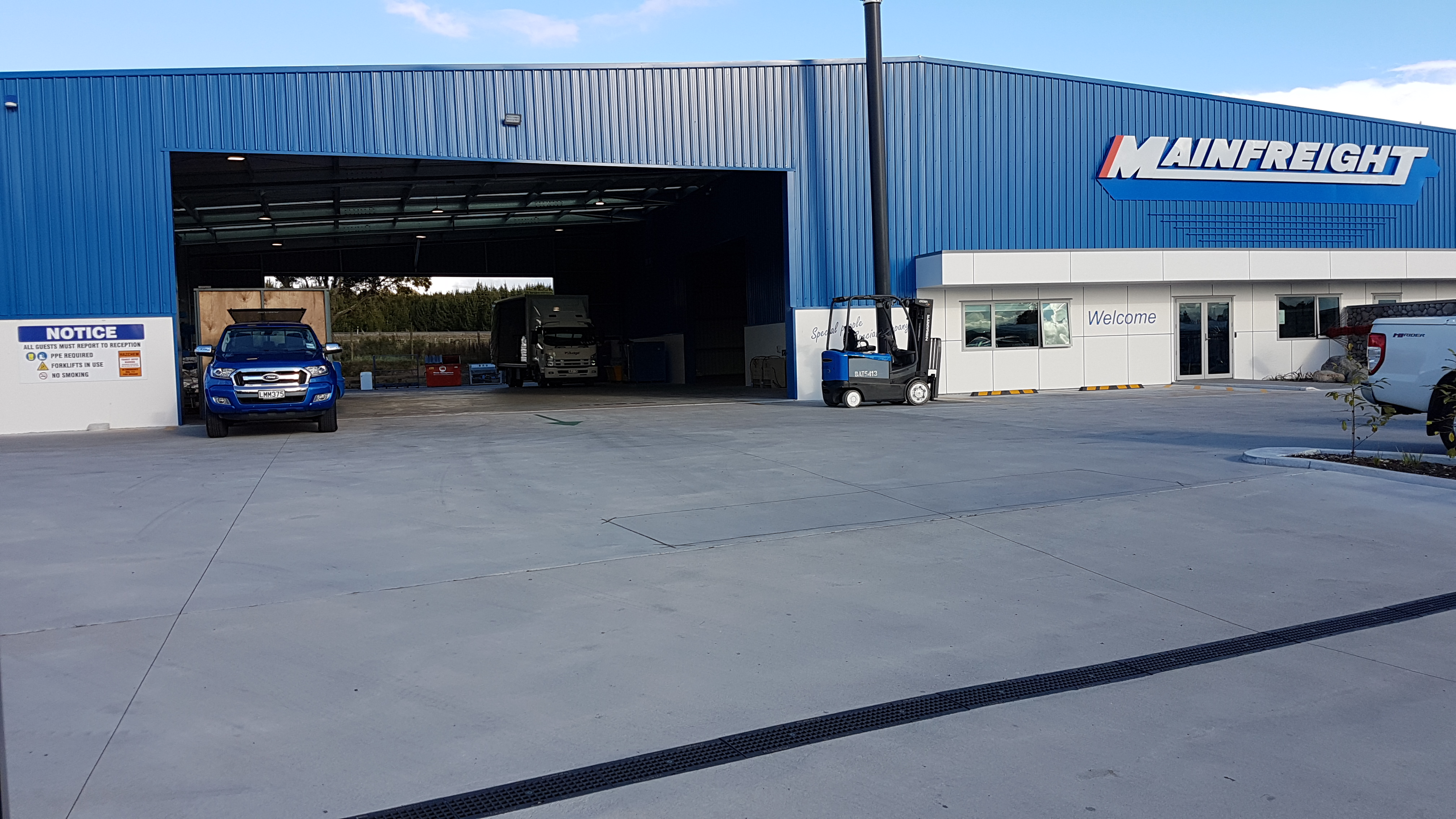 A freight yard that uses a super strong fibre concrete loading bay for very heavy traffic