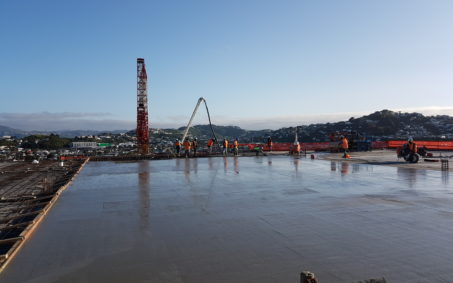 A large concrete carpark that uses concrete reinforced with steel fibres