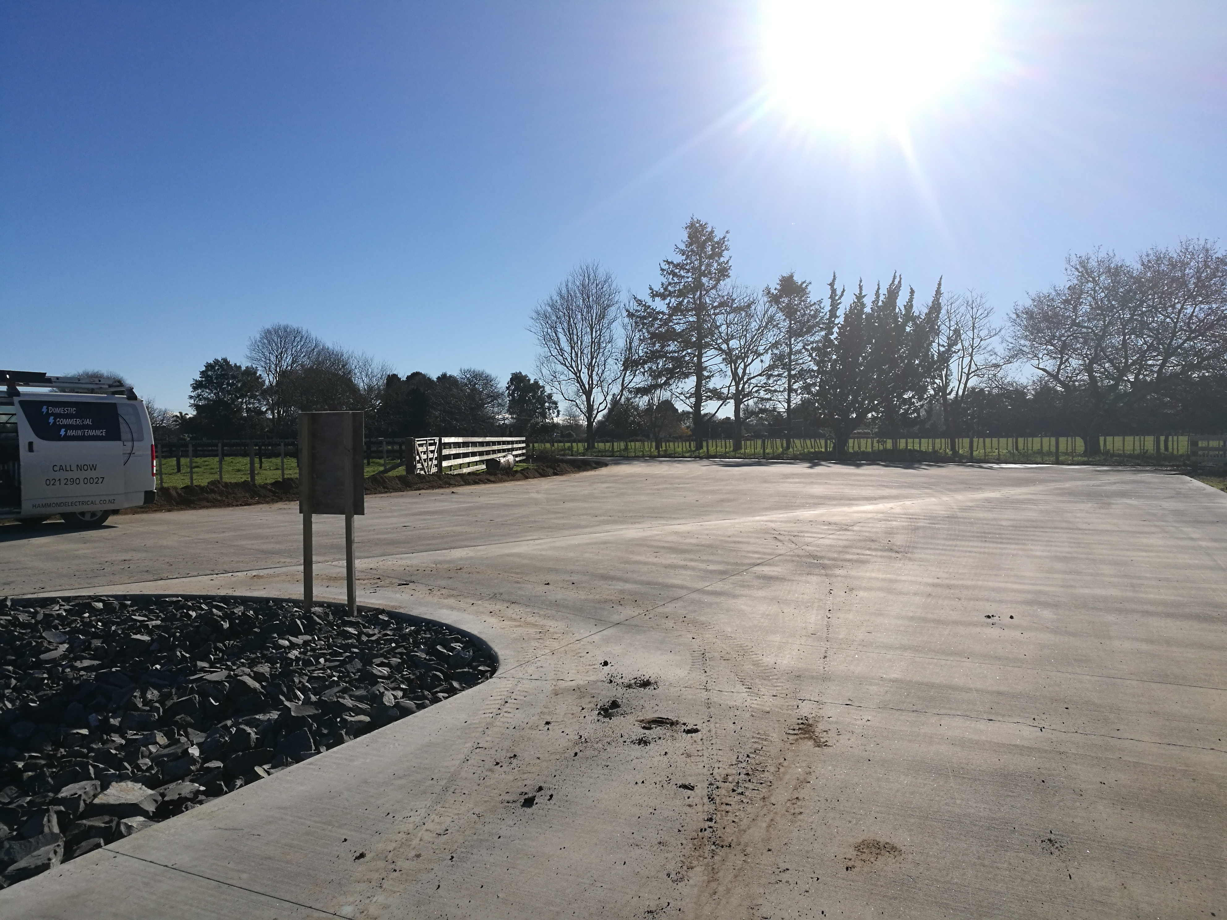 A large driveway and turning bay in fibre concrete